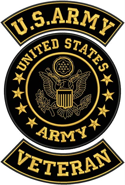 US Army Veteran Patches Set for Veterans Bikers Motorcycle Jacket or Vest  Gold.