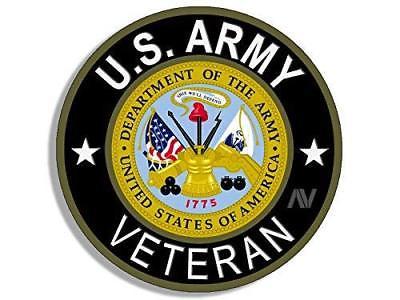 4x4 inch Round U.S. Army VETERAN Sticker (Bumper Vet Soldier gi Military  logo).