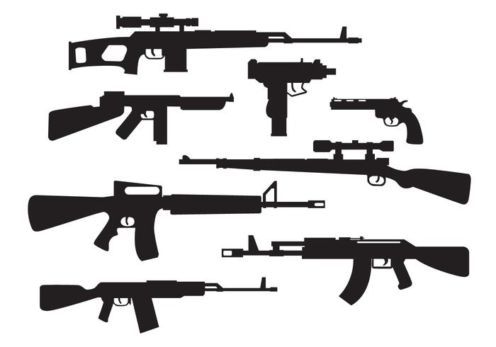 Military Weapons Silhouette Vector.