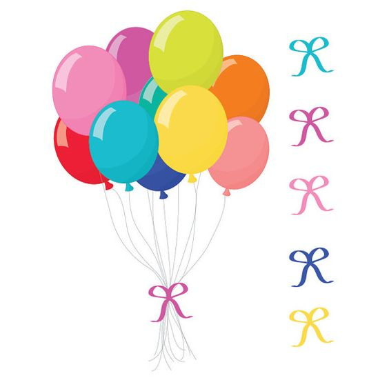 Premium Bright Party Balloons Clipart for Digital by AmandaIlkov.