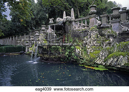 Stock Photograph of Fountain with stone Giants Tiber & Arno.