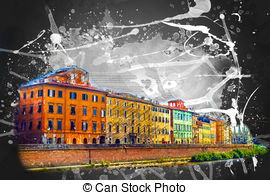 View of old street and river arno in pisa city italy Clipart and.