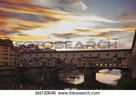Pictures of Ponte Vecchio over Arno River at sunset, Florence.