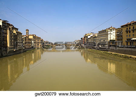 Stock Photograph of Bridge over a river, Ponte Alle Grazie, Arno.