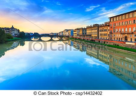 Stock Photography of Florence, Ponte alla Carraia medieval Bridge.