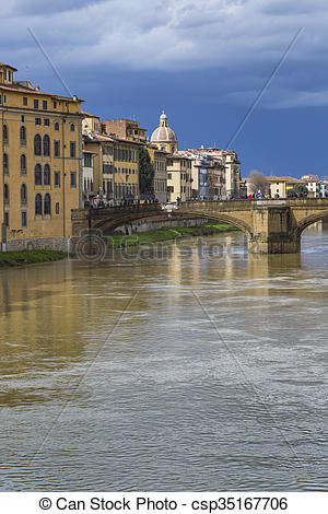 Stock Photography of Ponte Santa Trinita bridge over the Arno.