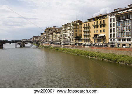 Picture of Buildings at the waterfront, Arno River, Florence.