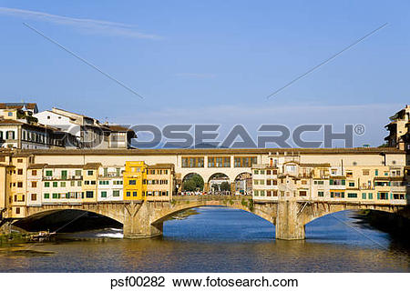 Stock Photo of Italy, Florence, Ponte Vecchio, Bridge over Arno.