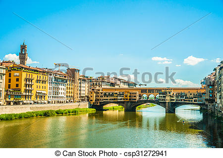Stock Photo of Pone Vecchio over Arno river in Florence, Italy.