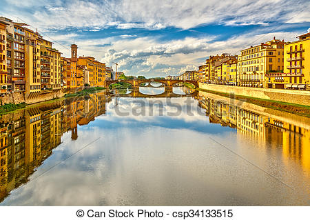 Stock Photography of Arno river in Florence, Italy csp34133515.