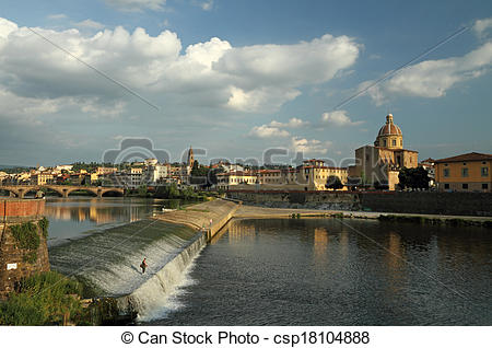Pictures of Arno river with the Pescaia di Santa Rosa and church.