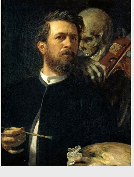 Items similar to Death Playing the Fiddle, Arnold Bocklin, Self.