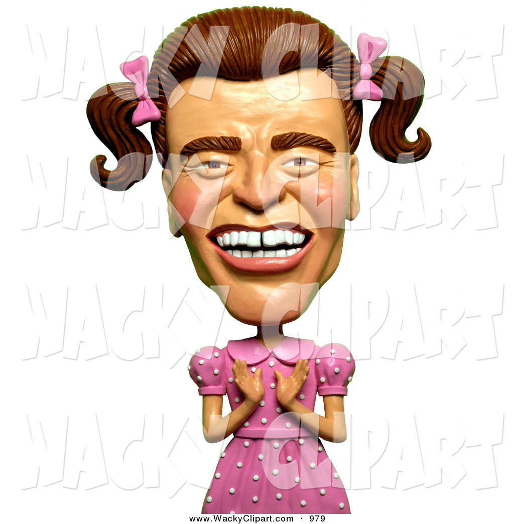 Clipart of a 3d Arnold Schwarzenegger Dressed As a Girly Man in a.