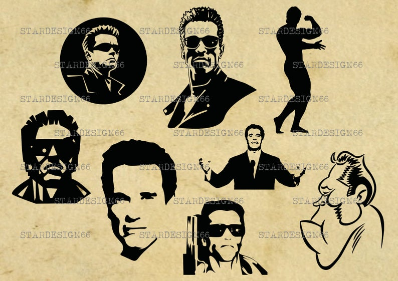 Digital SVG PNG JPG Arnold Schwarzenegger, vector, clipart, silhouette,  instant download.