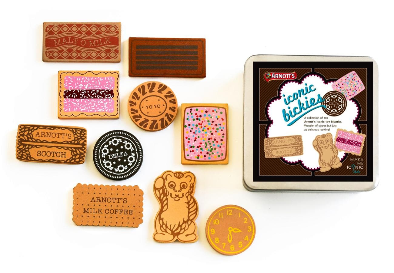 10 Piece Iconic Arnott\'s Wooden Biscuit Set.