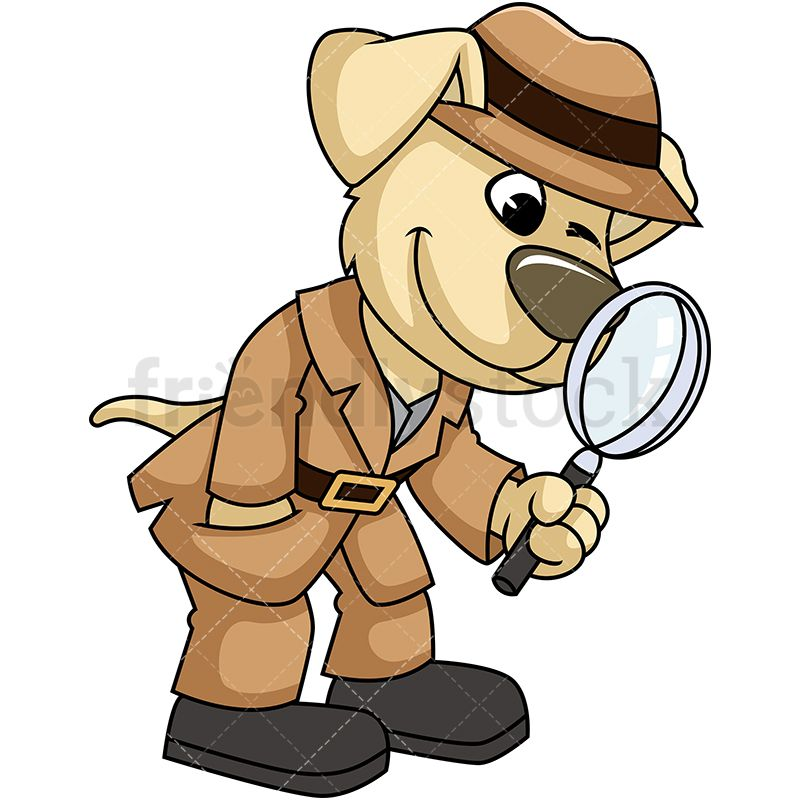 Dog Mascot Character Detective With Magnifying Glass.