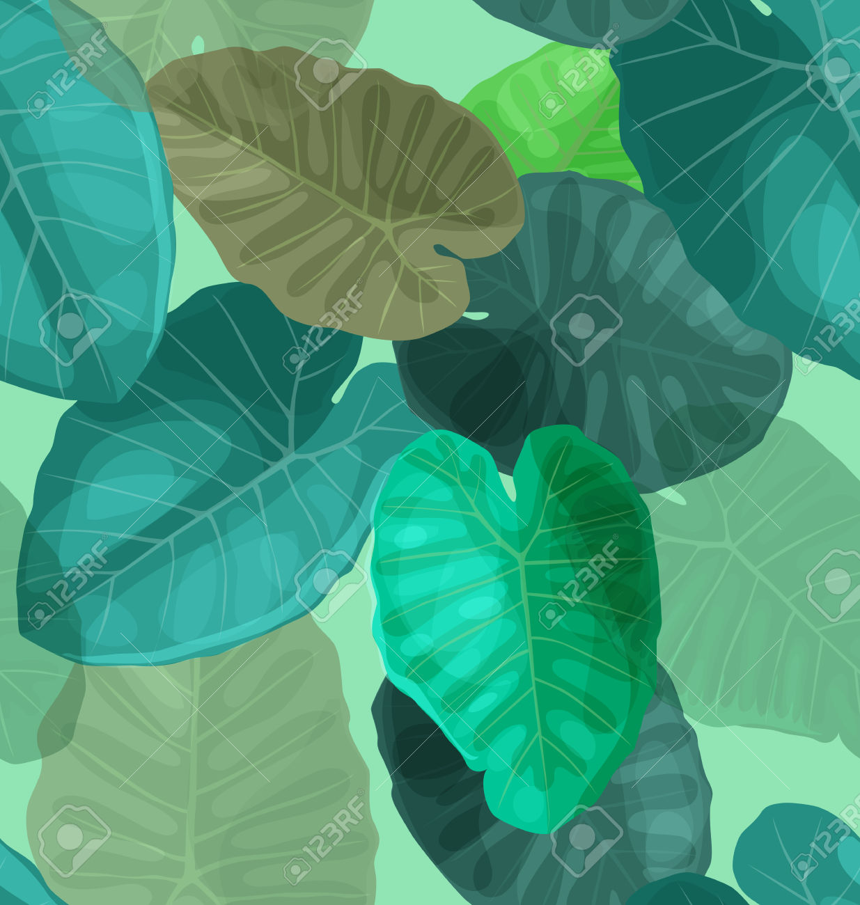 Illustration Of Aroideae Leaf Seamless Pattern Royalty Free.