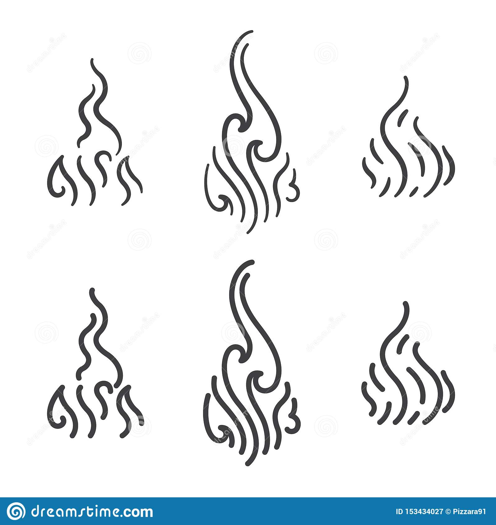 Aroma And Smoke Steam Line Art Icon Vector Set Stock Vector.