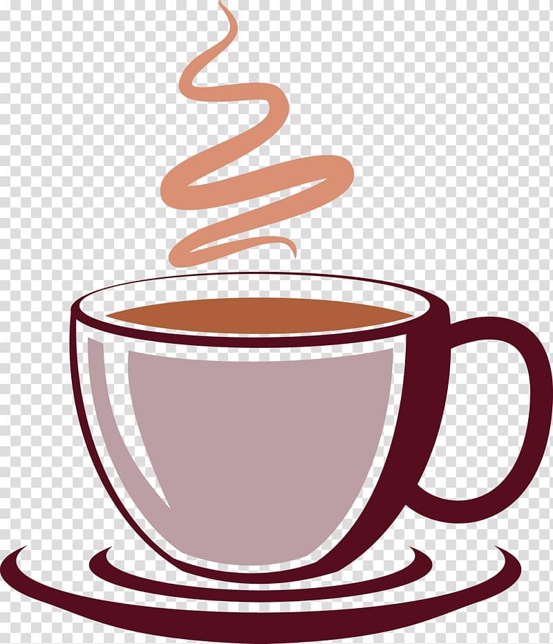 Mug with coffee illustration, Coffee cup Drink, Coffee aroma.