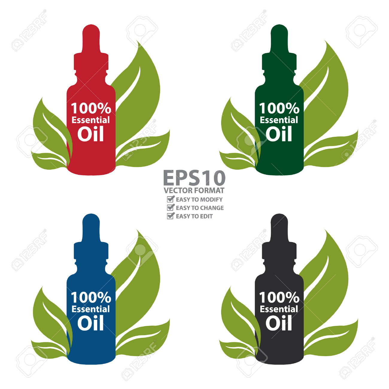 Vector : Colorful 100 Percent Essential Oil Dropper Bottle With.