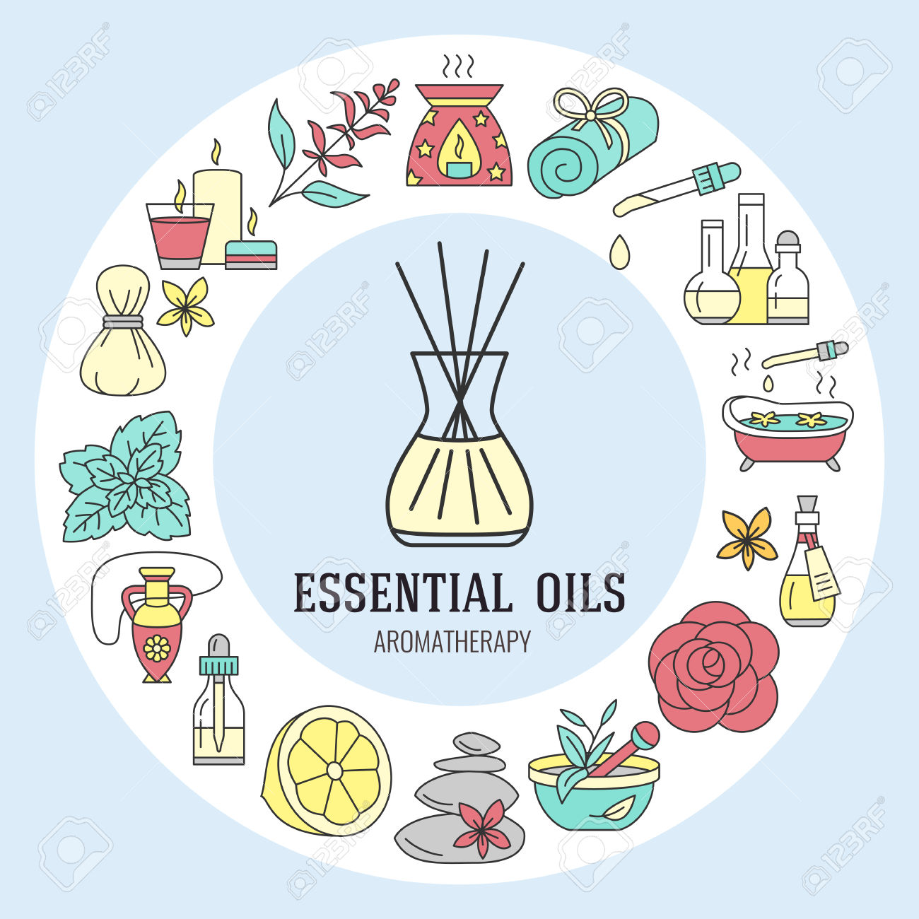 exotic body oil massage clipart.