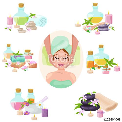 spa towel and aroma oil spa symbols. Spa symbols cartoon icons.