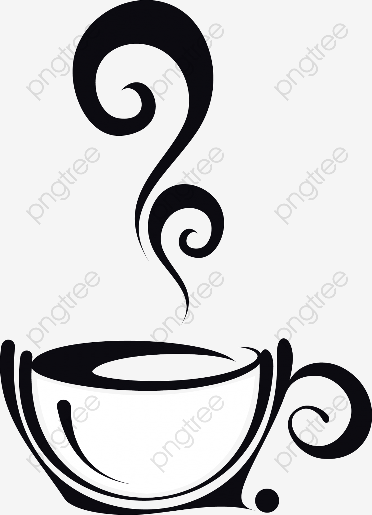 Steaming Coffee, Hand, Coffee Aroma, Glass PNG and Vector with.