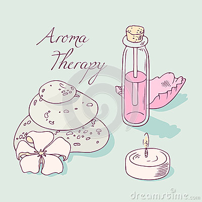 Aromatherapy And Spa Hand Drawn Vector Clip Art Stock Vector.