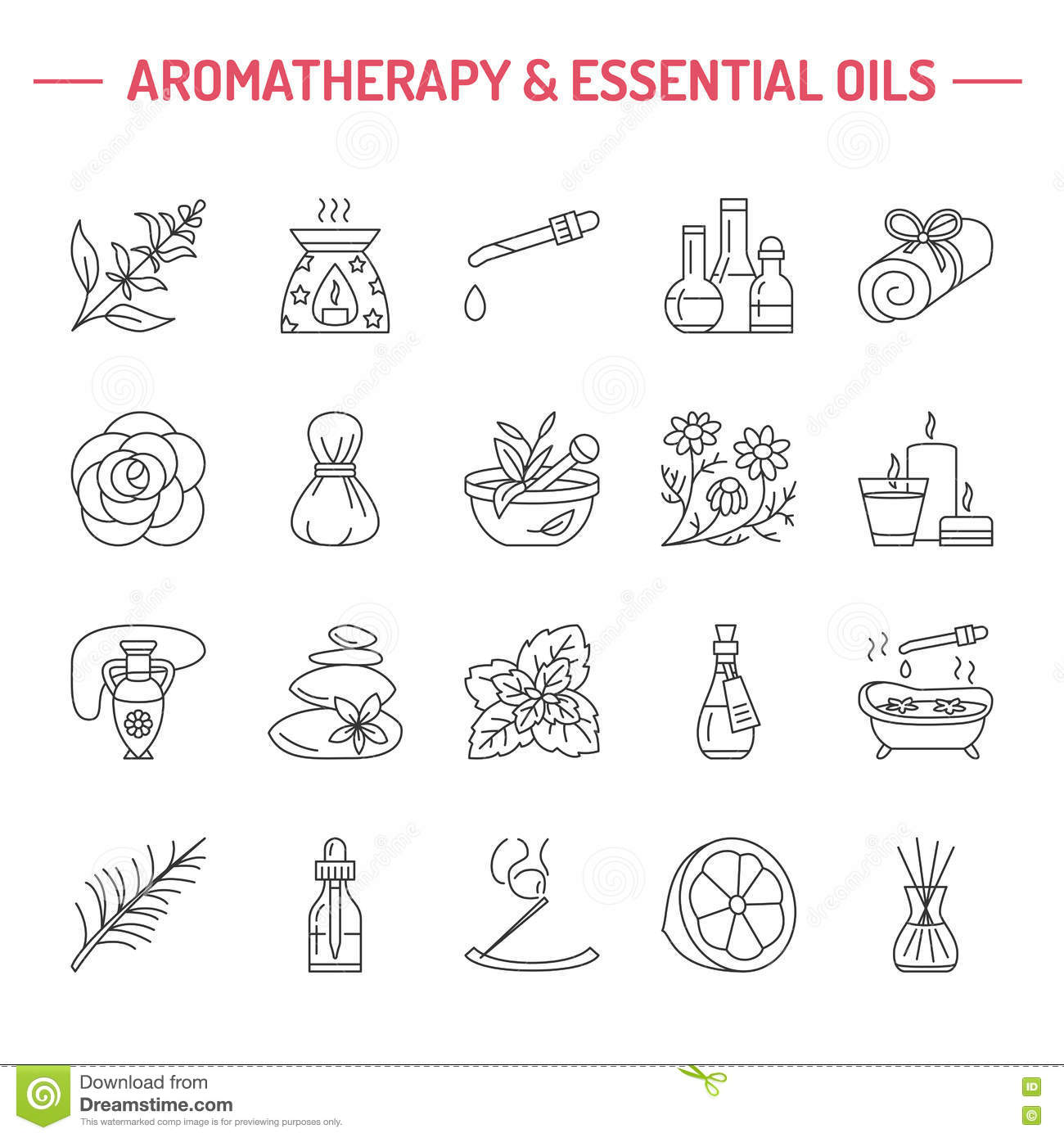 Modern Vector Line Icons Of Aromatherapy And Essential Oils. Stock.