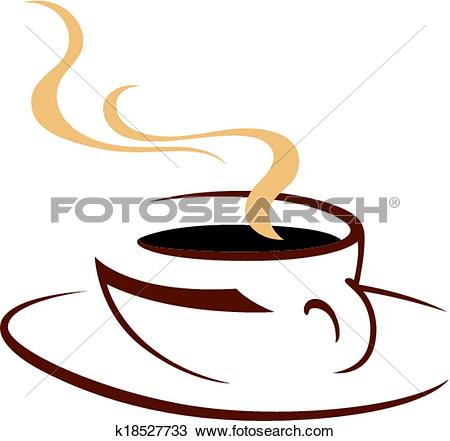 Clipart of Steaming hot cup of aromatic coffee k18527733.