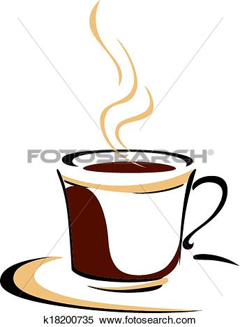Clipart of Steaming cup of aromatic coffee k18200735.