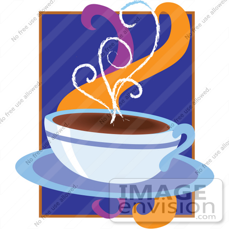 Clipart of a Cup Of Hot Coffee Releasing Aromatic Steam.