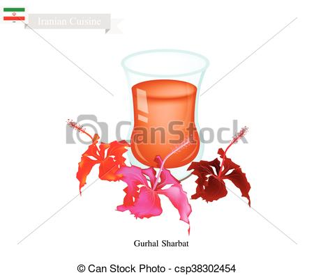 Clipart Vector of Gurhal Sharbat or Iranian Drink Made From.
