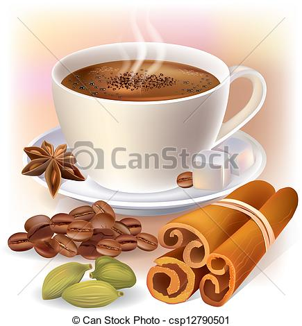 Vector Clipart of Aromatic coffee with spices. Contains.