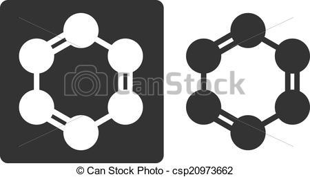 Clip Art Vector of Benzene (C6H6) aromatic hydrocarbon molecule.
