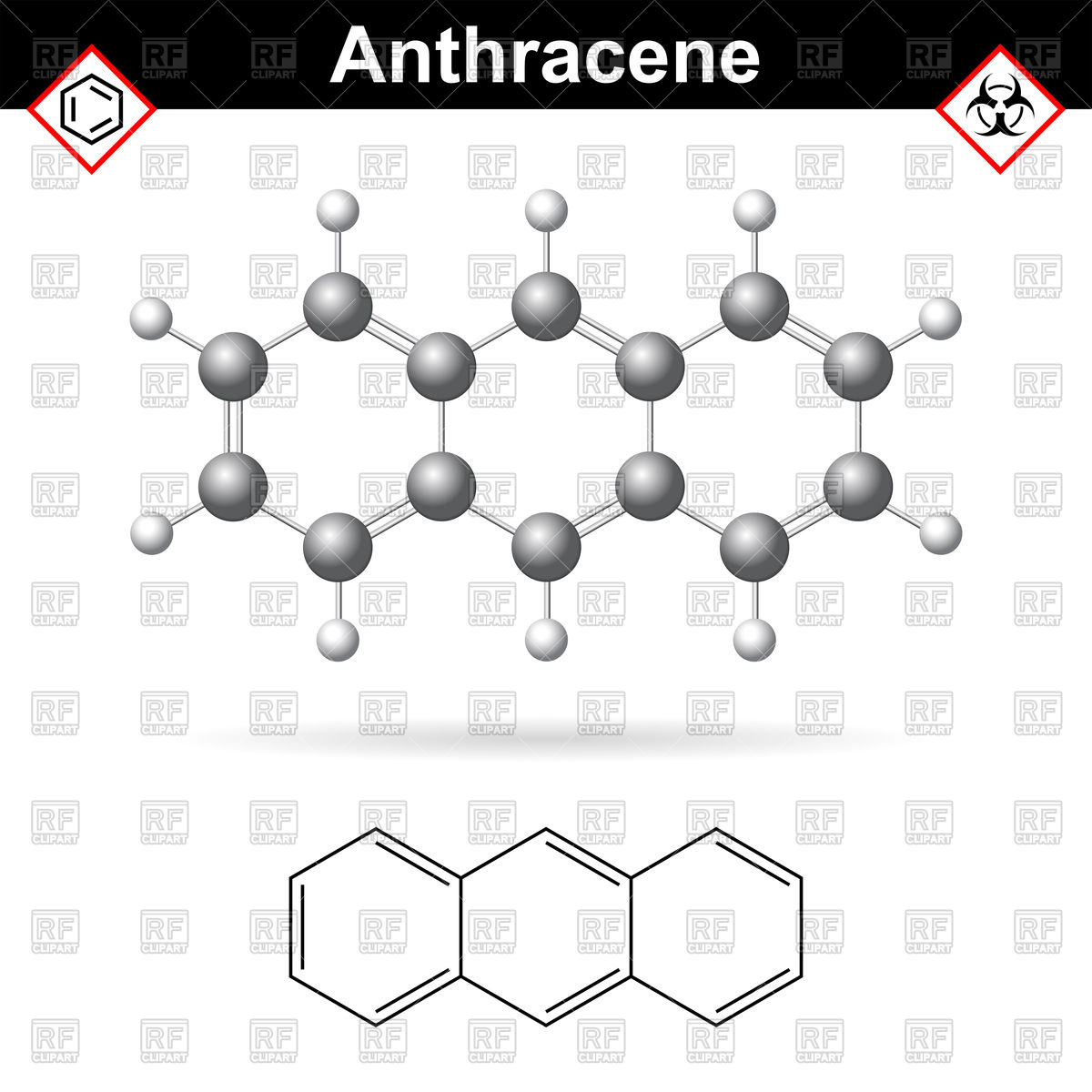 Anthracene chemical molecule, polycyclic aromatic hydrocarbon.