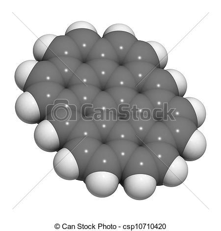 Clip Art of Ovalene molecule (polycyclic aromatic hydrocarbon, PAH.