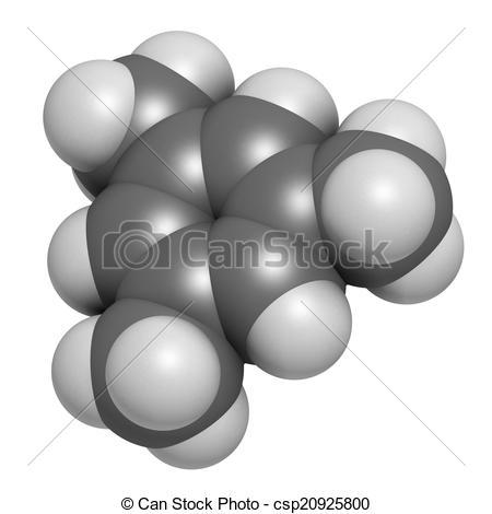 Stock Illustration of Mesitylene aromatic hydrocarbon molecule.