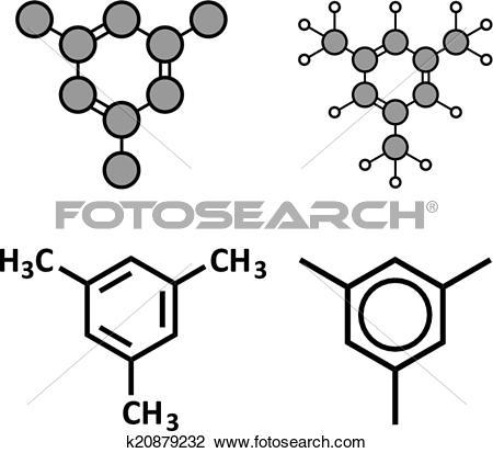 Clipart of Mesitylene aromatic hydrocarbon molecule. Important.