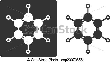 Clipart Vector of Benzene (C6H6) aromatic hydrocarbon molecule.