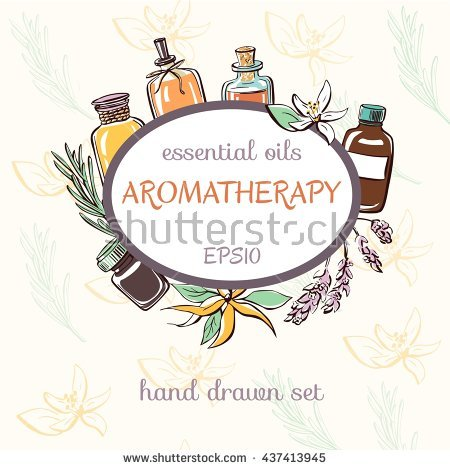 Vector Illustration Of Essential Oil Bottles, Aromatic Plants And.