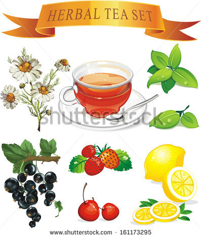Tea Set Aromatic Plants Stock Vector Illustration 161173295.