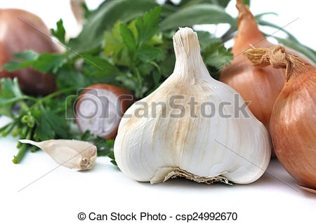 Picture of garlic and herbs.