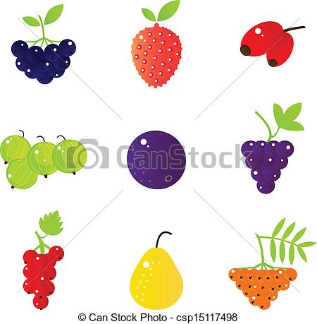 EPS Vectors of Fresh summer berries and exotic fruit set isolated.