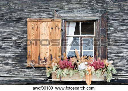 Stock Photography of Switzerland, Arosa, Window and flower box.