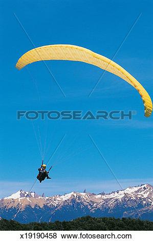 Pictures of Man Hanging From his Paraglider High Above Mountain.