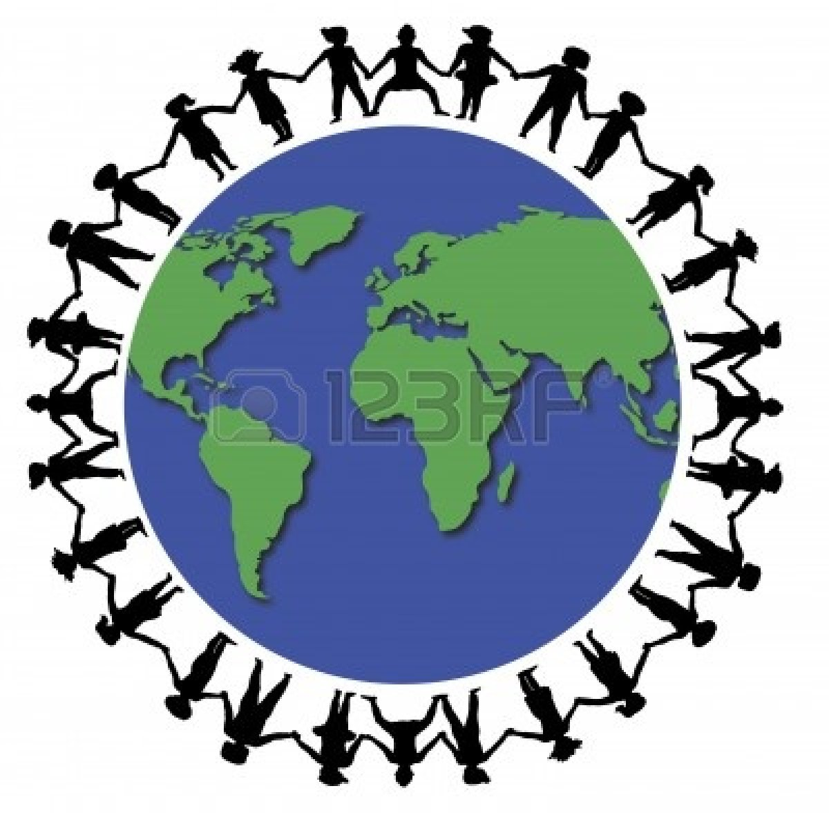 Hand in hand people around globe clipart.