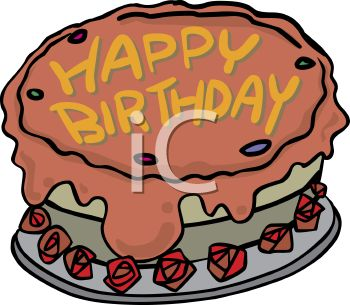 Royalty Free Clip Art Image: Birthday Cake With Roses Around It.