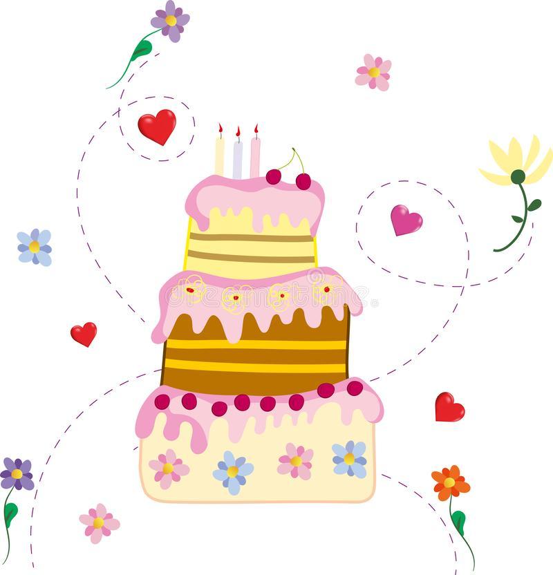 Birthday Cake Pink Stock Illustrations.