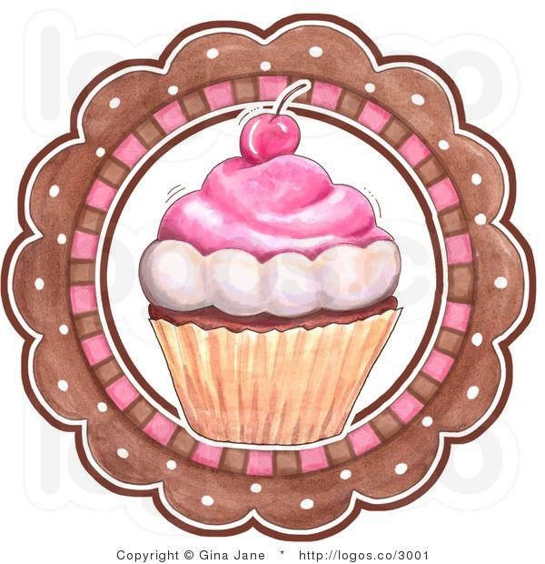 Royalty Free Vector of a Cupcake and Circle Bakery Logo.